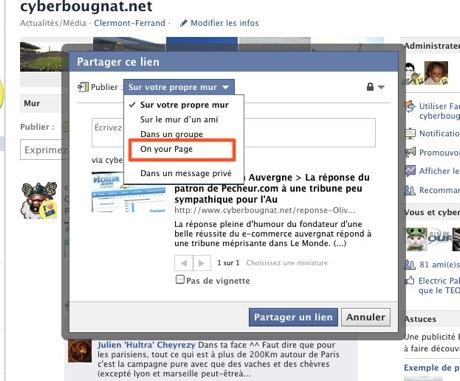 Partager vers une page dans Facebook