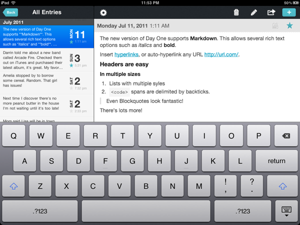 Day One Markdown iPad
