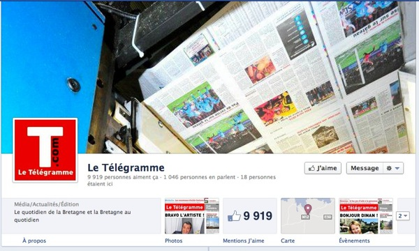 Page facebook le telegramme